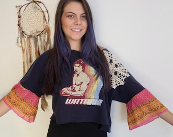 Bruce Lee Print Off The Shoulder Crop Cropped Yoga Shoulder Bell Sleeve Upcycled Recycled Festival Crochet Hippie Boho Clothing One Size