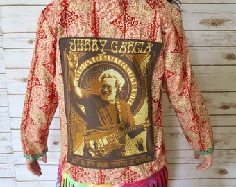 Jerry Garcia Grateful Dead India Embroidered Fringe Tie Dye Kimono Sweater Upcycled Clothing Bohemian Kimono Sweater Jacket Size Medium