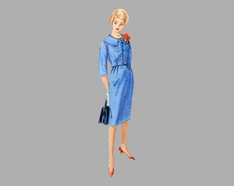 1960 One-Piece Dress / Jacket pattern Simplicity 3340 Bust 34, Two Skirt styles / Sash, Fitted waist length jacket Sleeveless dress Complete