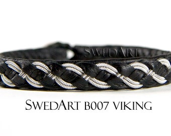 SwedArt B07 Viking Lapland Bracelet Reindeer Leather Pewter and Silver Braids Antler Button Black LARGE