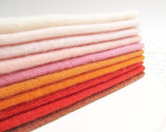 "Cashmere Wool Felt Squares Fabric Bundle Felted Cashmere Wool Sweater Fabric Destash Cashmere Scraps in Warm Colors - 10 - 6"" x 8"" Pieces 85"