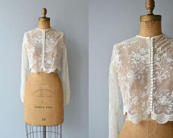 Emelle vintage 1950s lace jacket | sheer lace wedding jacket