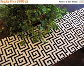 ON SALE Table Runner Maze Padded Home Decorator Print Black on Cream