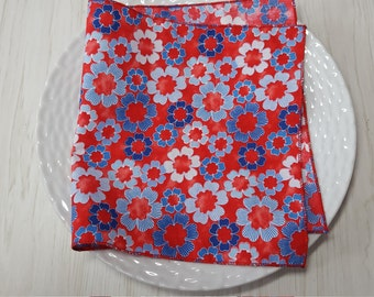 Cloth Napkins Blue White Floral on Red Set of 4