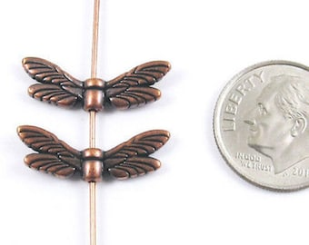 TierraCast Pewter Beads-COPPER DRAGONFLY WINGS (2)
