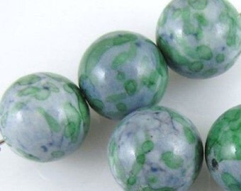 Round Gemstone Beads-Blue & Green RAIN FLOWER STONE 14mm (8)