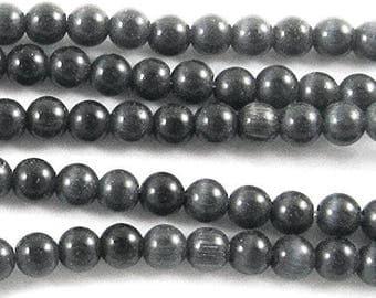 4mm Fiber Optic Round Cat Eye Beads-DARK GRAY (100 beads)