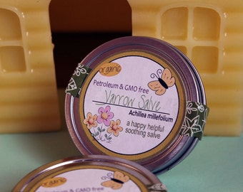 Organic Healing Yarrow Salve, (Achillea millefolium) Yarrow Balm, child friendly, Natural Skin Care. Petroleum free- plastic free containers