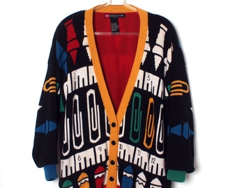 COOL Vintage I.B. DIFFUSION Oversized Cardigan Sweater All Over Print Primary Colors size L