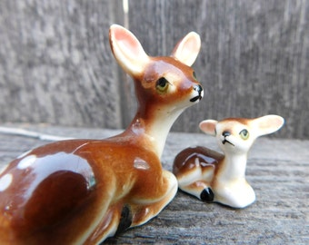 Vintage Miniature Bone China Deer , Fawn and Doe Figurines for Shadow Box, Dish Garden , Mini animals for Woodland Scenes 1960s era Set of 2
