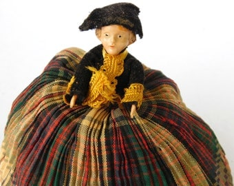 Vintage Celluloid Doll , Sachet Pin Cushion Weighted Doll , Unusual