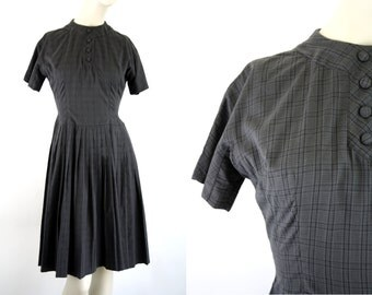Maggi Stover Plaid Cotton Vintage Short Sleeve Day Dress