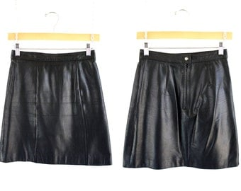 Berman's Vintage Black Leather Woman's High Waist A Line Mini Skirt