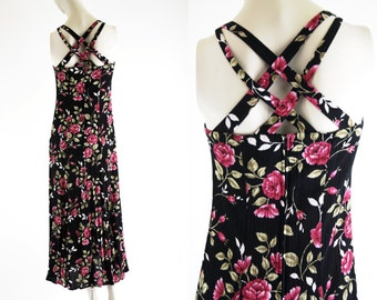 Vintage 90's Sherri Martin New York Black and Pink Sleeveless Criss Cross Side Slit Woman's Retro Midi Skirt Dress