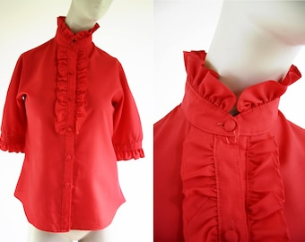 Vintage Woman's Red Polyester Ruffle Front Button Down Short Sleeve Retro Blouse