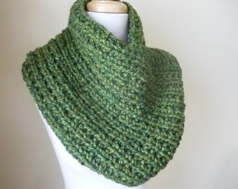 Knit Cowl, Knit Neck Warmer, Textured Rib Stitch Cowl Neck Warmer in Green Tones - Wool Blend - Soft Cowl - Warm Cowl - Ready to Ship