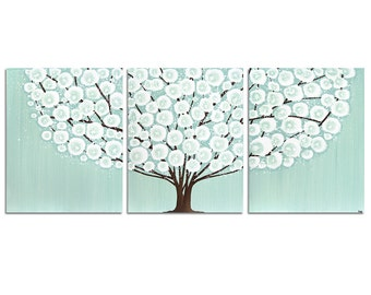 Canvas Art Tree Painting - Original Art Triptych - Sea Glass Blue and Brown Decor- Large 50x20