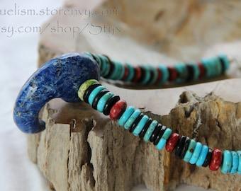 Southwestern Lapis Magatama Necklace - Southwest Style Jewelry Carico Lake Turquoise Lapis Lazuli Jet Gaspeite Deep Blue Green Black Red