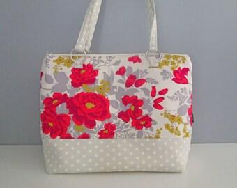 Large Gray Tote, Tote Handbag, Red Diaper Bag, Large Red Shoulder Bag, Tote Diaper Bag, Floral Diaper Bag, Weekend Tote