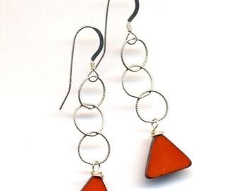 SALE Sterling Silver Earrings, Orange Earrings, Long Sterling Earrings, Sterling Silver Fall Color Jewelry by AnnaArt72