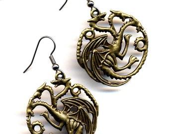 Dragon Earrings, LAST pair Daenerys Targaryen Big Dragon Earrings, Surgical Steel Earrings, Antique Gold Dragon, Game of Thrones Earrings