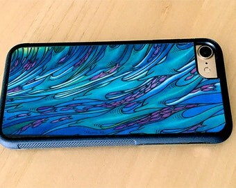 Waves of Dolphin Surf Art, Rubber iPhone 5/5s, iPhone 6/6s, iPhone 6 Plus, iPhone 7, iPhone 7 Plus
