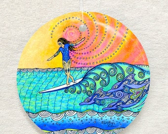 Wahine Surf Art Glass Ornament & Suncatcher, Dolphins swimming