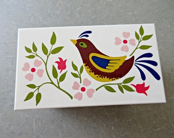 Vintage Recipe Box, Ohio Art, Folk Art Bird, Bird and Flowers Box, Red Blue, Index Card Box, Cottage Chic, Tin Recipe Box, Vintage Kitchen