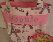 Paris. Armore. Flower Girl Gift, Personalized Kids Tote Bag, Quiet Tote,  with Crayon Roll, Design Your Own, 100s Fabric Choices