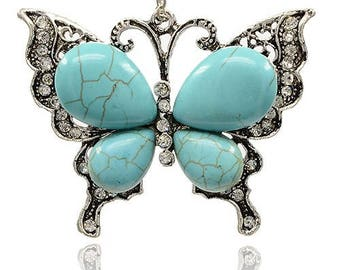 Butterfly Pendant - Turquoise Howlite and Rhinestones - Sold Individually