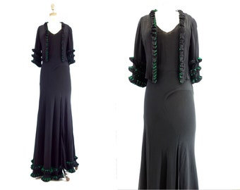 1930s Vintage Dress Exquisite 2 pc Dress 30s Dress and Jacket 1930s Black Dress Absinthe Green Dress Silk Crepe de Chine 1930s Maxi Dress xs