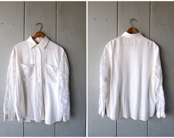 White 80s Blouse LACE SLEEVES & Pockets Button Up Collared Shirt Sheer Long Sleeves Preppy Boho Bohemian Top Vintage Womens Large