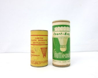 collection of old Badminten Plastic & Feather Shuttlecocks Advertising Cans Sports Sporting Den Decor Athletic photo prop