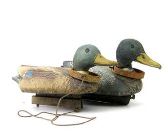 2 Vintage rustic Ducks Mallard Decoys Plastic Floaters Animals Flambeau Rustic Cabin Home Decor pair of two 2 Ducks