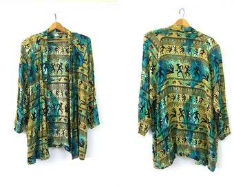 Ethnic Print Blazer Oversized Rayon Green Tribal Pattern Slouchy Cardigan Coat 1990s Open Fit Shirt Jacket Vintage Womens Large