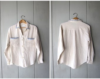 Button Up Linen Blouse Minimal Natural Oatmeal Beige Linen Top Boxy Blouse with Cotton Blue Trim Vintage Women's Small Medium