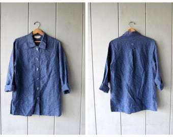 Button Up Linen Blouse Minimal Natural Blue Linen Top Boxy Blouse with LEAF BUTTONS Vintage 90s Modern Casual Blouse Women's Medium