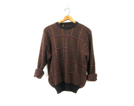 Men's Brown Black WOOL Sweater 90s Pullover Knit Crewneck Sweater Preppy Prep Vintage Boyfriend Sweater Fall Colors Unisex Large