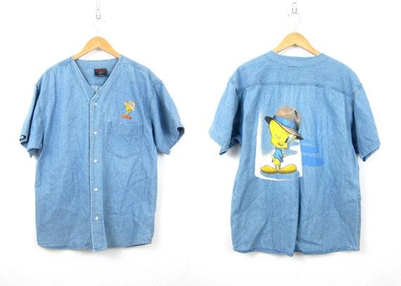 90s Jean Shirt Collarless Denim Tweety Bird Shirt Button Up Oversized Short Sleeve Jean Shirt Womens Size Large