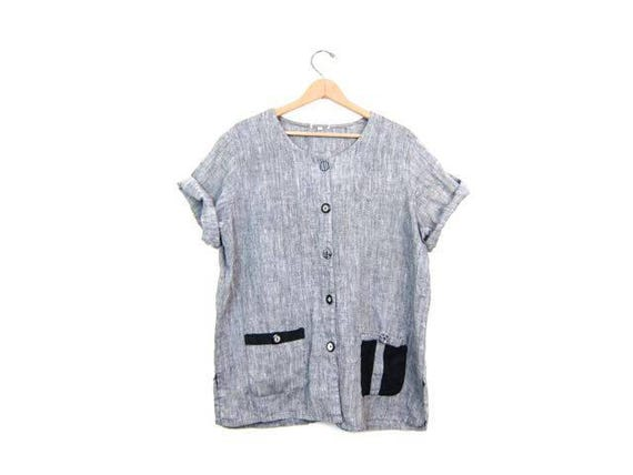 Vintage Linen Blouse with Pockets Oversized Minimal Top Button Up Modern Pocket Shirt Grey Black White Linen Tee DES Womens Large