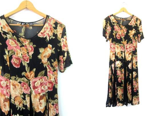 Sheer Floral Dress Short Sleeve Black Gypsy Dress BOHO Vintage Flowers Print Bohemian Chic Revival Slip Dress Size Medium