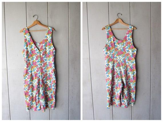 80s Floral Romper Spring Garden Jumpsuit Boho Bibs Jumper Button Up 1980s Once Piece Tank Shorts Revival Pink Womens Medium