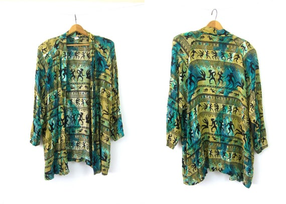 Ethnic Print Blazer Oversized Rayon Green Tribal Pattern Slouchy Cardigan Coat 1990s Open Fit Shirt Jacket Vintage Womens Large