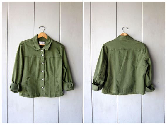 Vintage Army Green Jean Jacket 90s Dark Green Denim Grunge Jacket Oversized Jacket Button Down Crop Cotton Jacket Spring Coat Womens Large