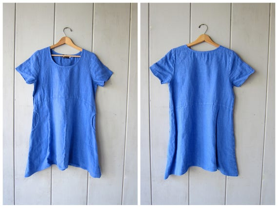 Basic Blue Linen Dress 90s Minimal Mini Dress with POCKETS Simple 1990s Little Shirt Dress Preppy Spring Summer Dress Women's Small