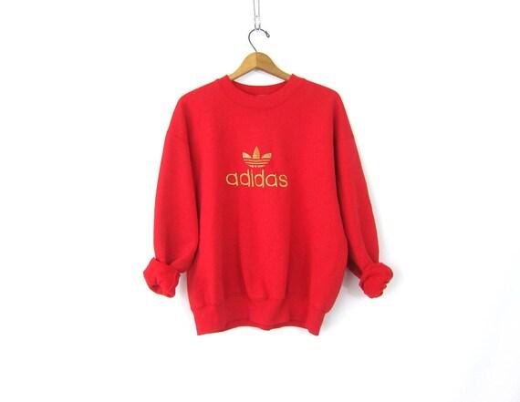 vintage ADIDAS Trefoil Logo sweatshirt Red & Gold sweatshirt Oversized slouchy sweatshirt GS Athletic Sports Sporty workout Top Size XL
