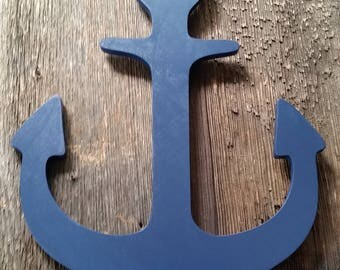 Navy anchor with ears.  IMPERFECT see photos.  2 of 2