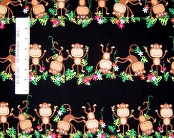 Jungle Animal Fabric - Monkeying Around Stripe Black Benartex Kanvas Studio YARD