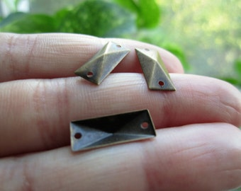 Link, Antique Brass, 15mmx6mm Rectangle with Hollow Back