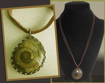 FOSSILHippie Ammonite Pendant on Leather Thong,Earthy and Attractive,Fossilized Mollusk,Undersea Life,,Vintage Jewelry,Unisex